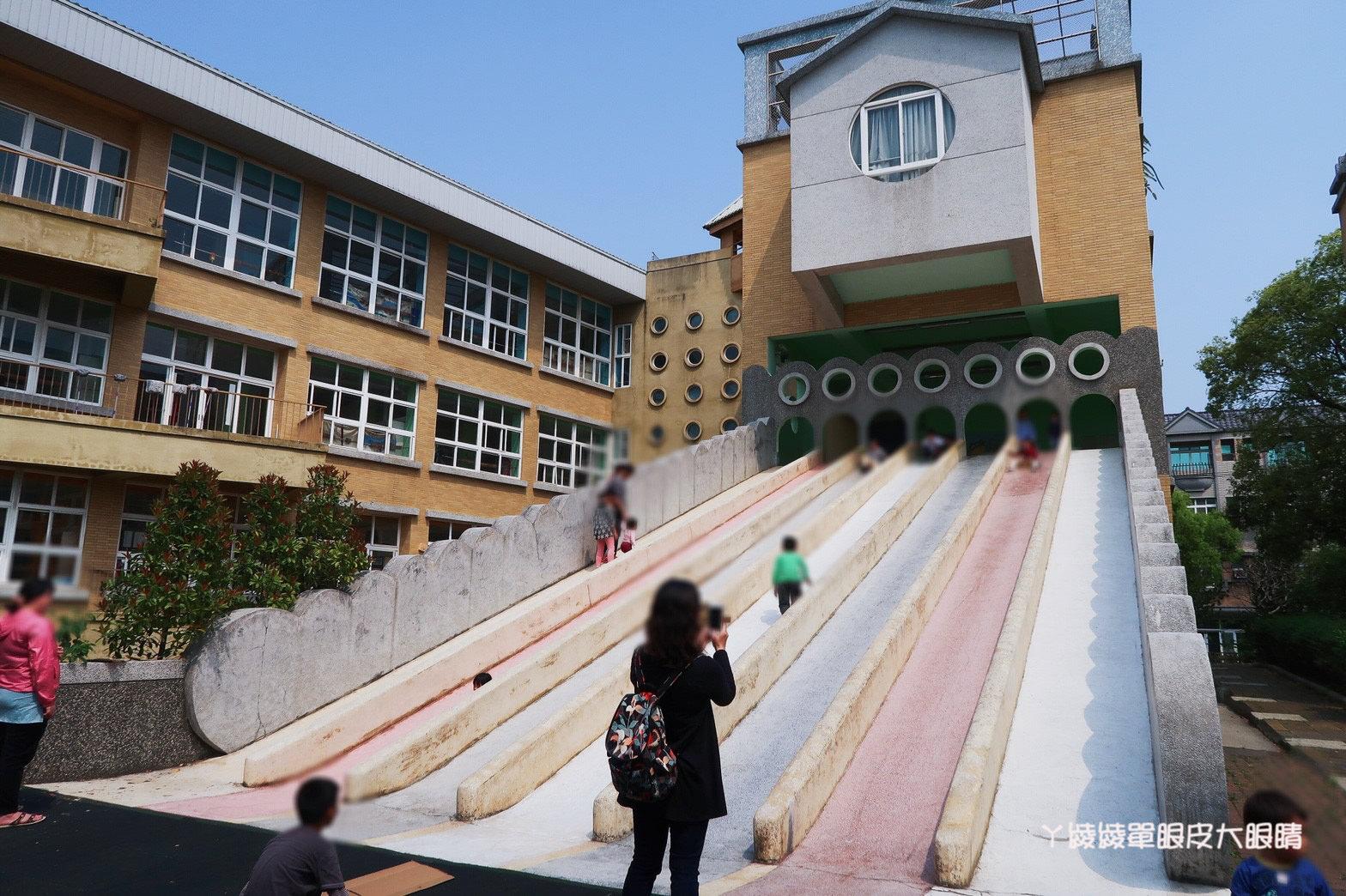 新竹免費旅遊景點推薦!陽光國小紫藤花開了!兩層樓高的彩虹溜滑梯