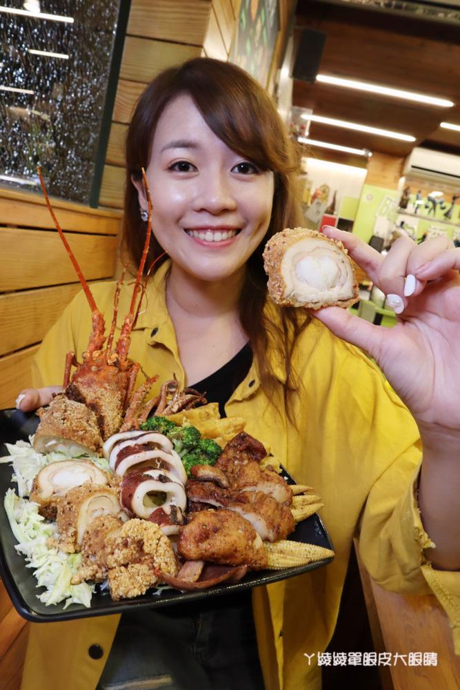 竹北鹽酥雞推薦阿力香雞排竹北文興店!整隻龍蝦包進雞排,居酒屋內用座位還有啤酒機冰淇淋機
